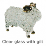 Glass Figurines: Clear Glass Animals with gilt