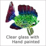 Glass Figurines: Clear Glass Animals with Hand painted Color