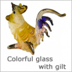 Glass Figurines: Colorful Glass Animals with gilt